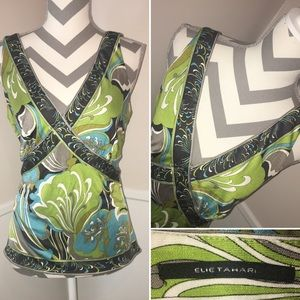 ELIE TAHARI | 100% silk Deep V neck sleeveless top